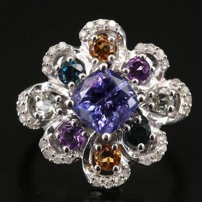 Sterling Tanzanite, Diamond and Amethyst Scallop Ring