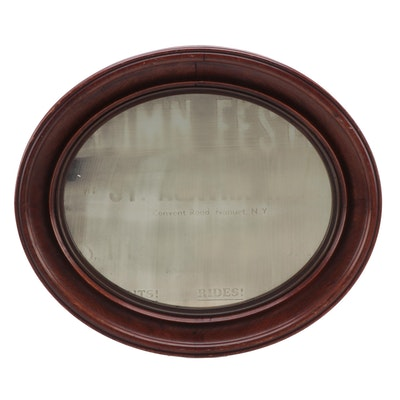 Victorian Oval Framed Walnut Wood Wall Mirror, Late 19th/ Early 20th Century