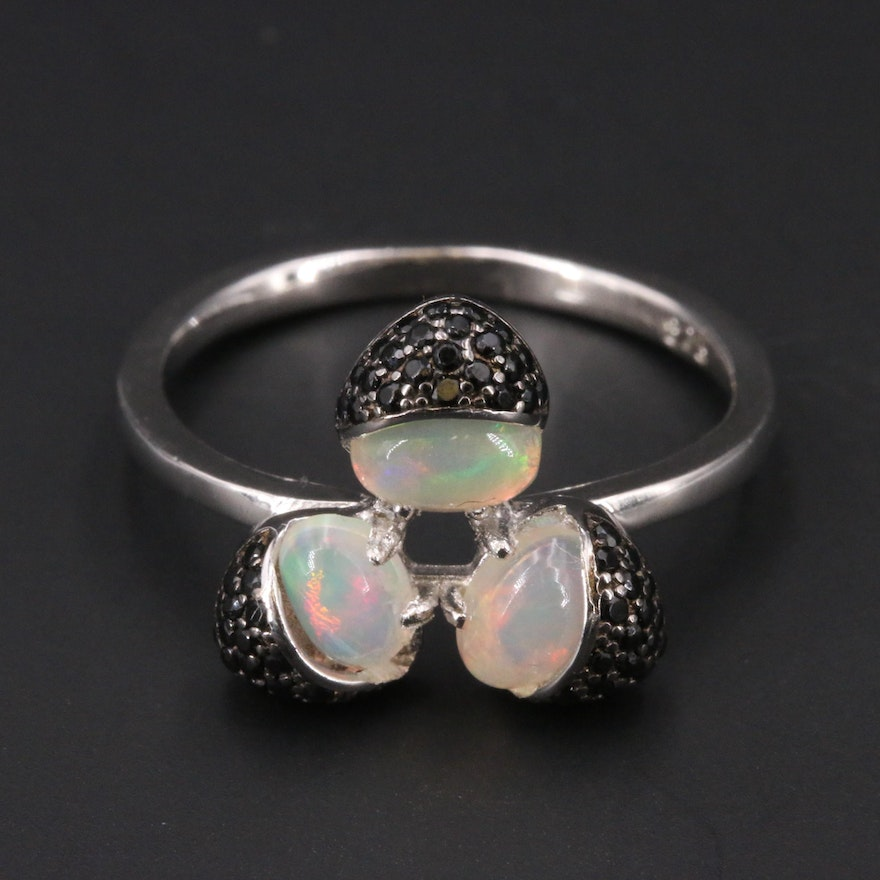 Sterling Silver Opal and Cubic Zirconia Tre-Foil Ring