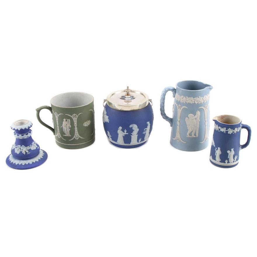 Wedgwood Blue and Green Jasperware Tableware, and Silver Plate Lid Biscuit Jar