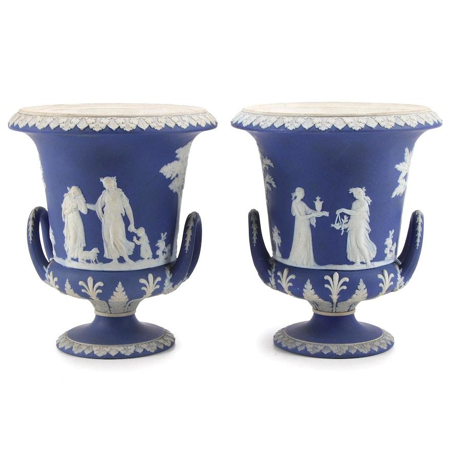 Wedgwood Jasperware Handled Vases