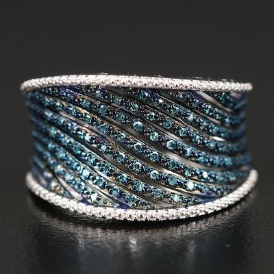 Sterling Diamond Saddle Ring