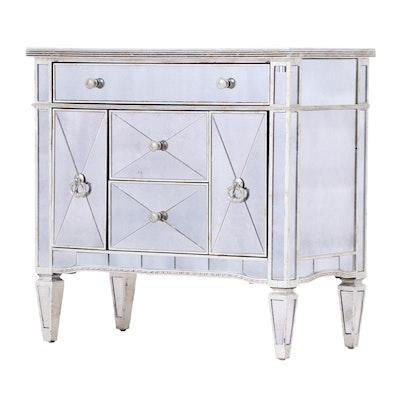 "Bassett Mirror ""Borghese"" Antique Silver Mirrored Nightstand"