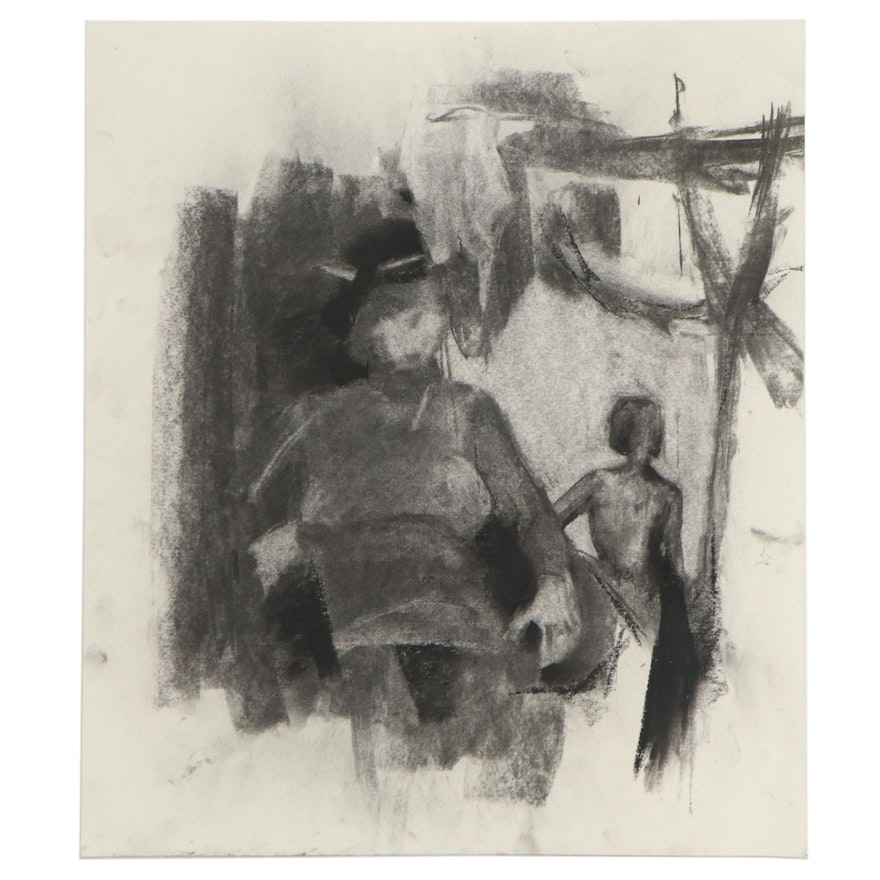 David J. Armacost Charcoal Drawing, 21st Century