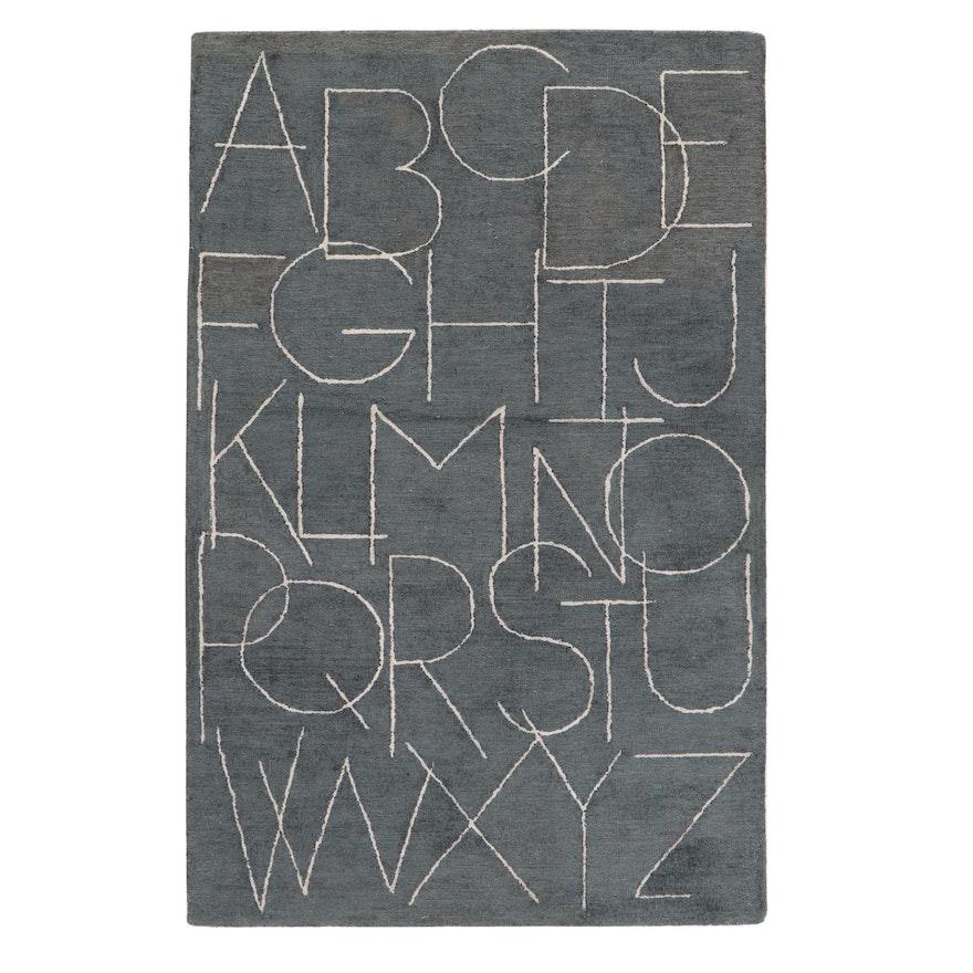 5' x 7'8 Hand-Tufted Indian Alphabet Rug, 2010s