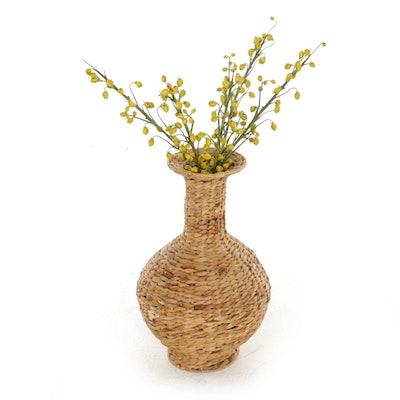 Wicker Vase with Faux Flowers, Late 20th Century