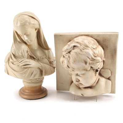 """Alexander Backer Chalkware Bust """"Madonna and Child"""" and Relief Portrait"""