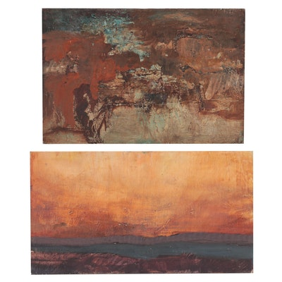 Abstract and Landscape Oil Paintings, Late 20th Century