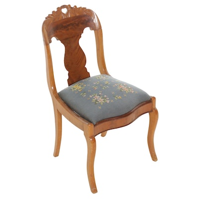 American Empire Mahogany Side Chair with Needlepoint Seat