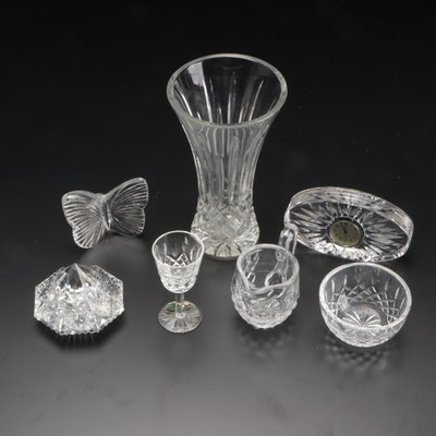 Waterford Crystal Vase with Other Waterford Cut Glass Items