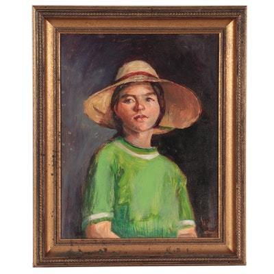 Oil Portrait of Young Child, Late 20th Century
