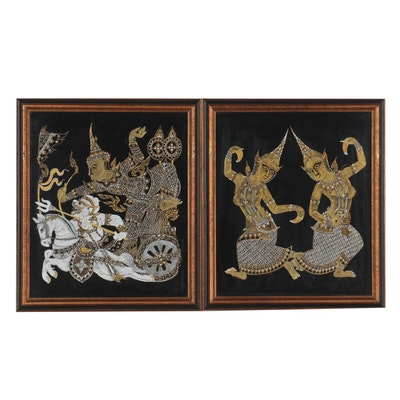 Thai Gouache Paintings on Silk of Hanuman and Dancers, Mid-Late 20th Century