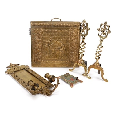 Embossed Brass Newspaper Rack, Candle Sconce, Andirons, Pen and Inkwell Stand