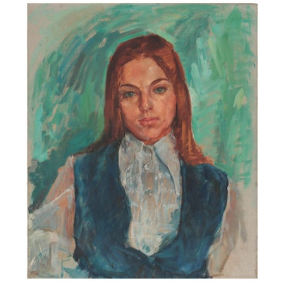 Oil Portrait of Young Girl, Mid to Late 20th Century