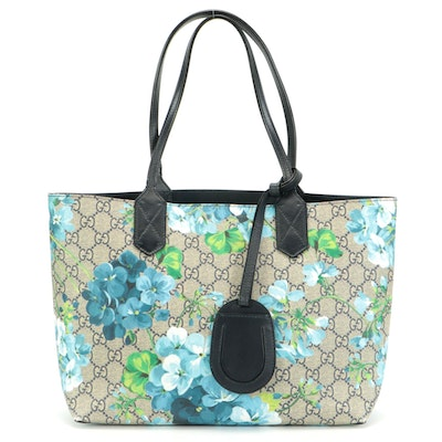 Gucci GG Blooms Supreme Canvas and Leather Reversible Tote Bag