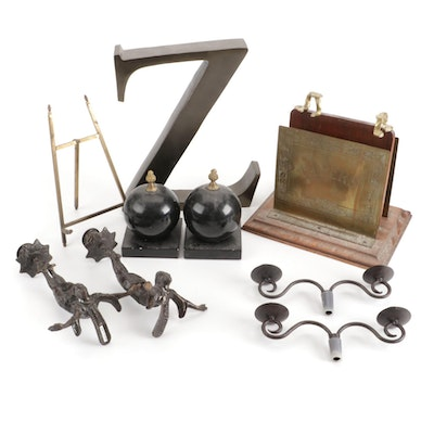 Chased Brass Letter Holder, Alabster Bookends, More Office Accessories and Decor