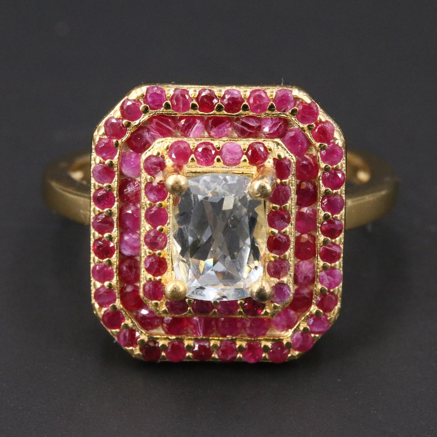 Sterling Silver Aquamarine and Ruby Ring