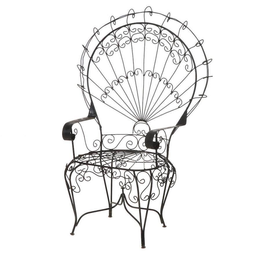 John Salterini Wrought Iron Peacock Chair, Mid-20th Century