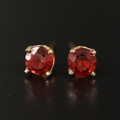 14K Round Faceted Garnet Stud Earrings