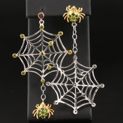Sterling Spider Earrings with Diopside and Amethyst