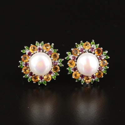 Sterling Pearl, Citrine and Diopside Button Earrings