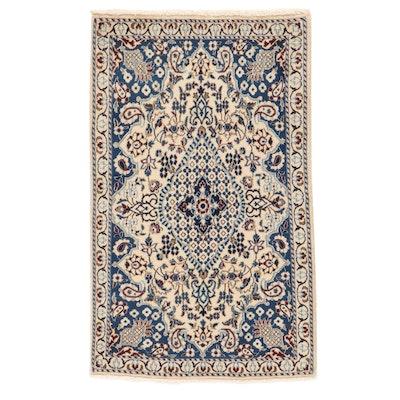 3' x 4'10 Hand-Knotted Persian Nain Wool and Silk Rug, 2000s
