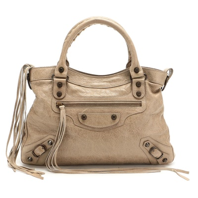 Balenciaga Town Bag in Dove Grey Lambskin Leather