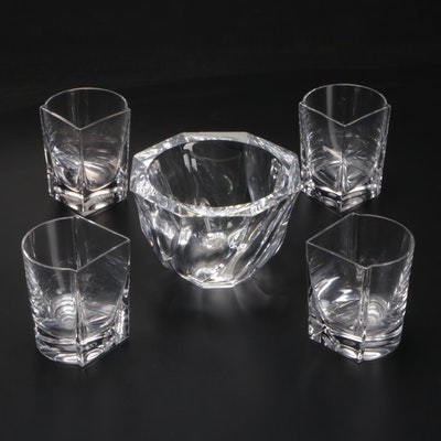 """Orrefors """"Residence"""" Crystal Bowl with Cristal De Sevres Modular Shot Glasses"""