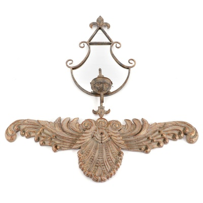 Mexican Scallop Shell Composite Frieze with Fleur-de-Lys Mirrored Wall Sconce