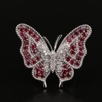 Sterling Corundum and Diamond Butterfly Ring