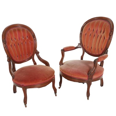 Victorian Walnut Upholstered His and Hers Parlor Chairs, Late 19th Century