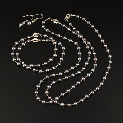 Sterling Pearl Station Necklaces, Station Bracelets and Earrings