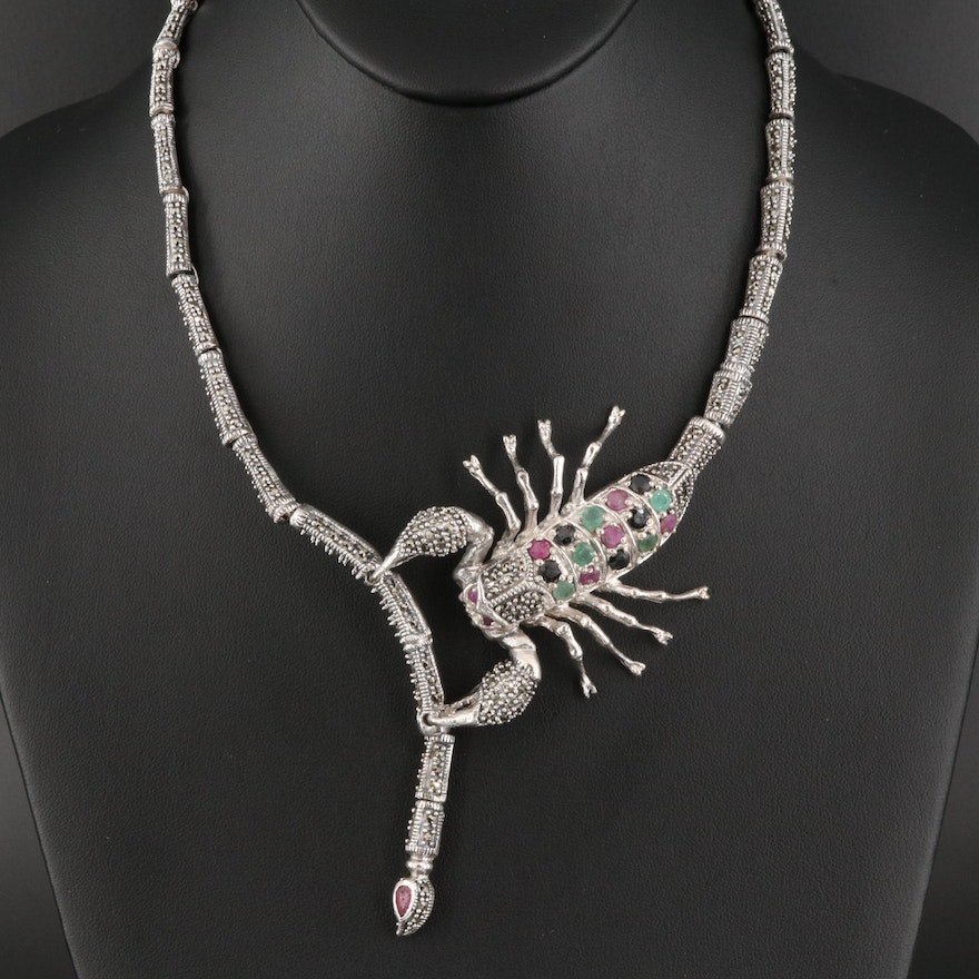 Sterling Scorpion Necklace with Corundum, Beryl and Marcasite