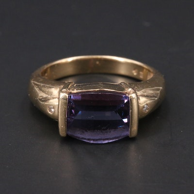 14K Color Change Sapphire and Diamond Ring