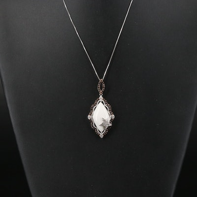Sterling Agate, Smoky Quartz and Zircon Star Scallop Pendant Necklace