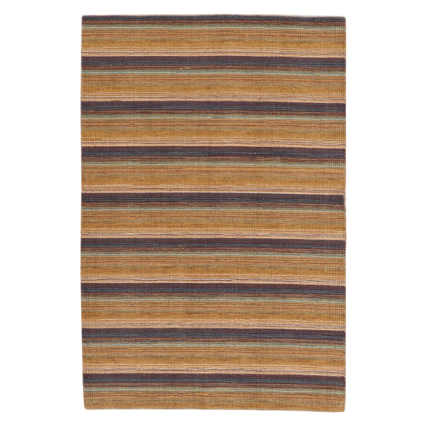4' x 6' Hand-Knotted Indo-Persian Gabbeh Rug, 2010s