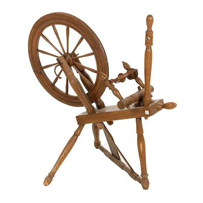 American Primitive Turned Wood Spinning Wheel, Late 19th to Early 20th Century