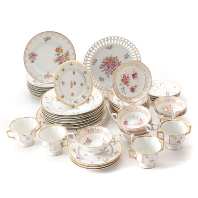 """Hammersley """"Dresden Sprays"""" With Limoges and Czechoslovakian Porcelain Tableware"""