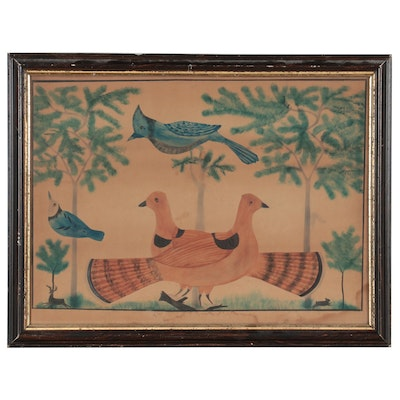 Watercolor Painting of Woodland Animals, Mid-20th Century
