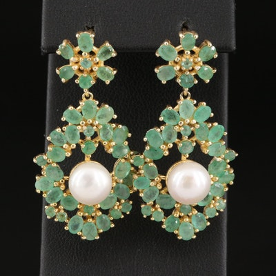 Sterling Pearl and Emerald Drop Earrings
