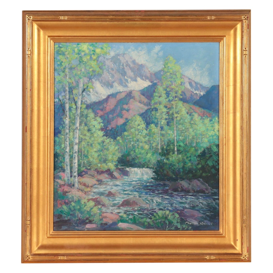 Chester Schrock Landscape Oil Painting of Mountains and Lake