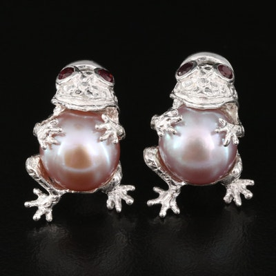 Sterling Pearl and Garnet Frog Stud Earrings