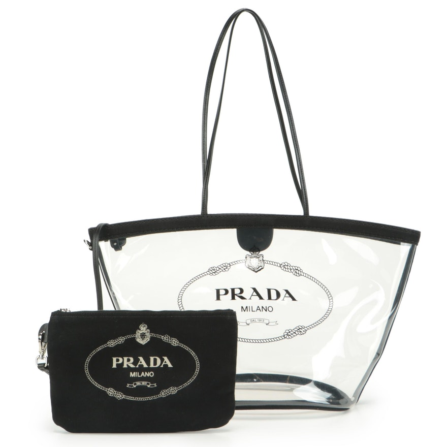 Prada Logo Beach Tote 1BG166 in Transparent Vinyl with Canvas and Leather Trim