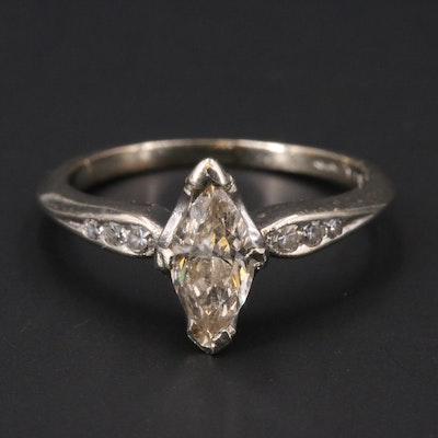 Vintage 14K Diamond Navette Ring