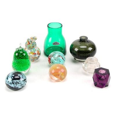 Blenko Handcrafted Green Glass Vase with Other Glass Décor