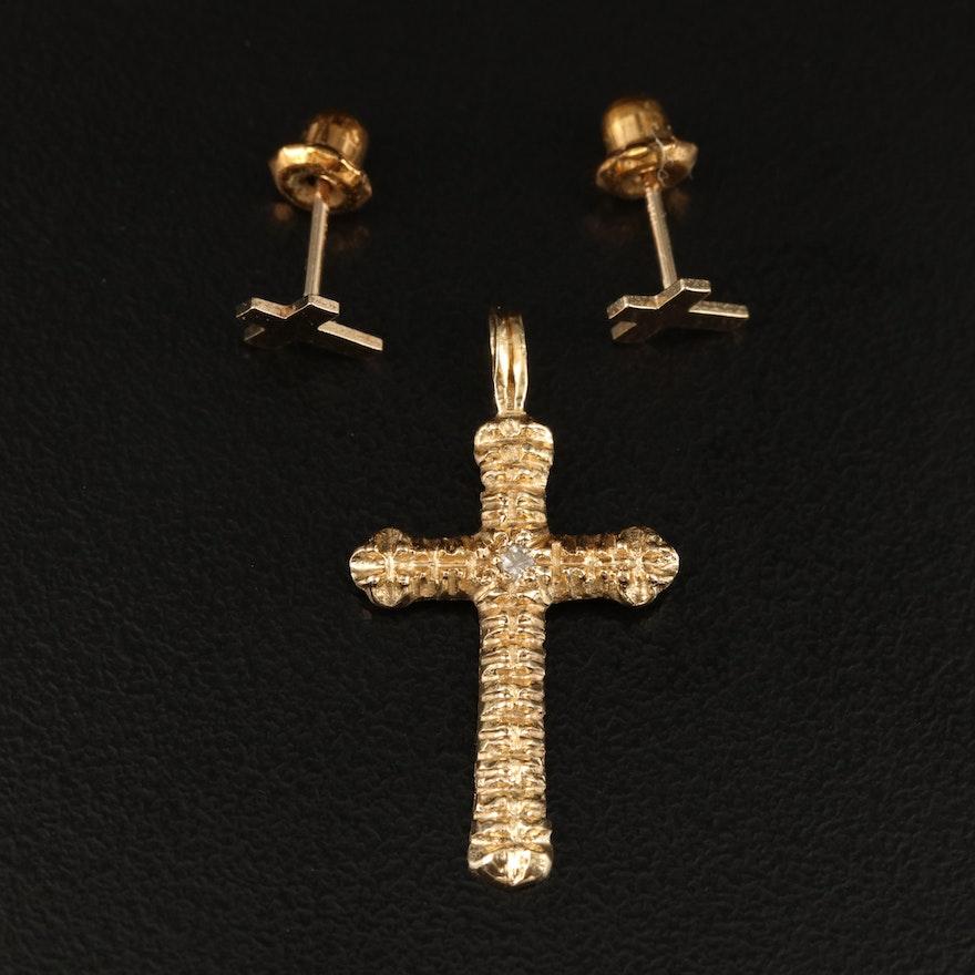 14K Diamond Cross Pendant and Stud Earrings