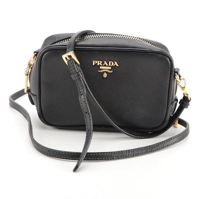Prada Mini Camera Crossbody Bag in Black Saffiano Leather