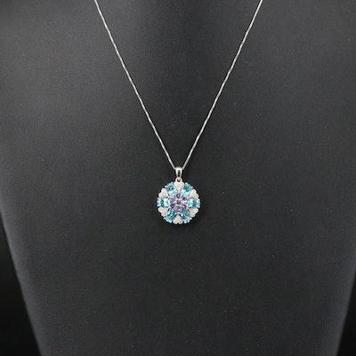 Sterling Apatite, Tanzanite and Diamond Pendant Necklace