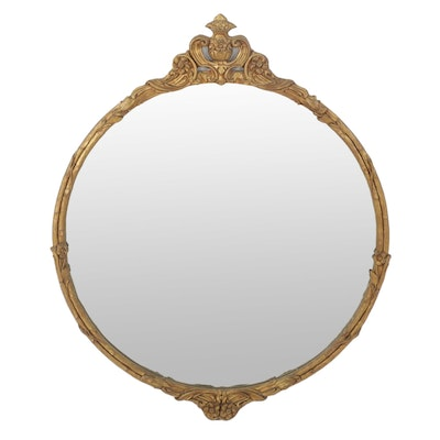 Rococo Style Large Round Gold Framed Mirror, Mid to Late 20th Century