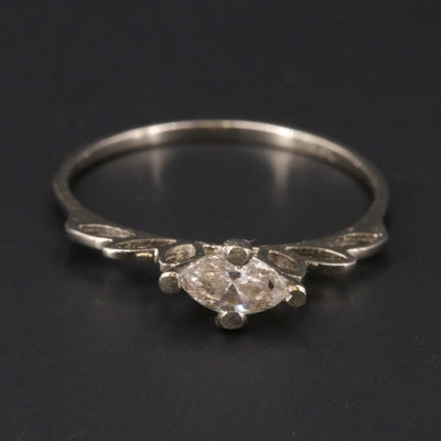 14K 0.33 CT Diamond East-West Solitaire Ring